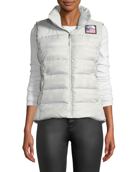 Nuptse Standard Full-Zip Down Puffer Vest with Star-Print Lining