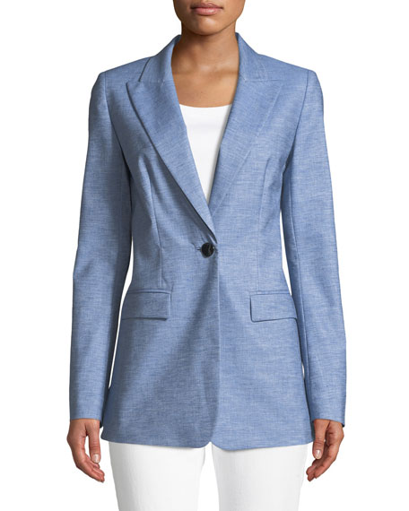 Lafayette 148 New York Briley Astute Denim One-Button