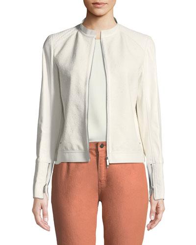 Lennon Leather-Trim Cotton-Blend Jacket