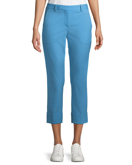 Theory New Stretch-Wool Crop Cuff Straight-Leg Pants