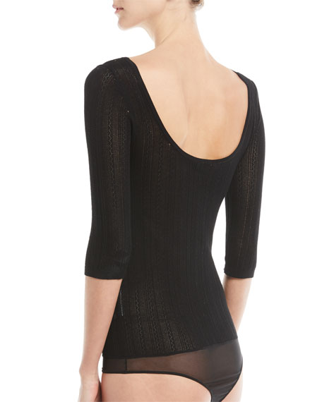 Scoop-Neck 3/4-Sleeve Prosecco Knit Bodysuit