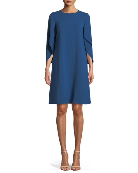 Lafayette 148 New York Finese Crepe Zahara Draped-Sleeve Dress