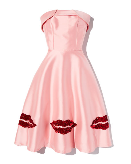 Levent Metallic Lip Bustier Strapless Dress