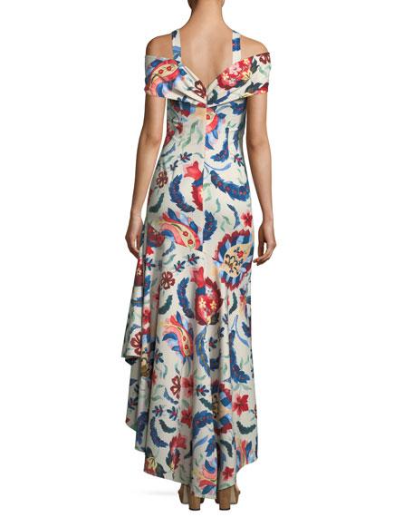 Heritage Cold-Shoulder Flounce-Hem Gown