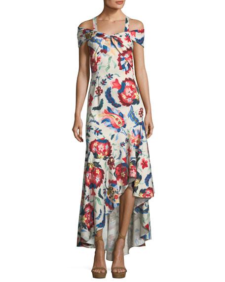 Sachin & Babi Heritage Cold-Shoulder Flounce-Hem Gown