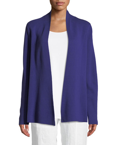 Silk-Blend Interlock Open-Front Jacket, Plus Size