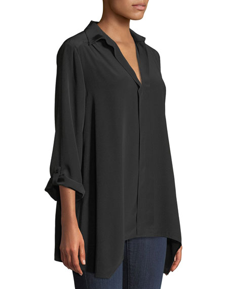 Dolman-Sleeve Silk Tunic, Plus Size