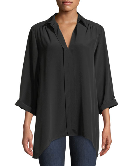 Dolman-Sleeve Silk Easy Tunic
