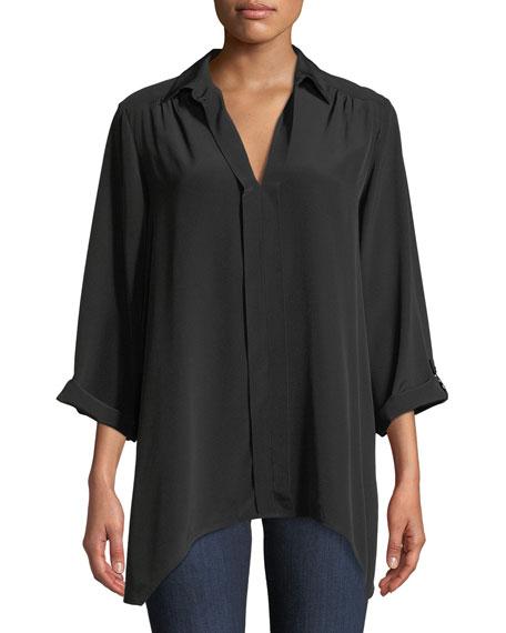 Go Silk Dolman-Sleeve Silk Tunic & Silk Wide-Leg