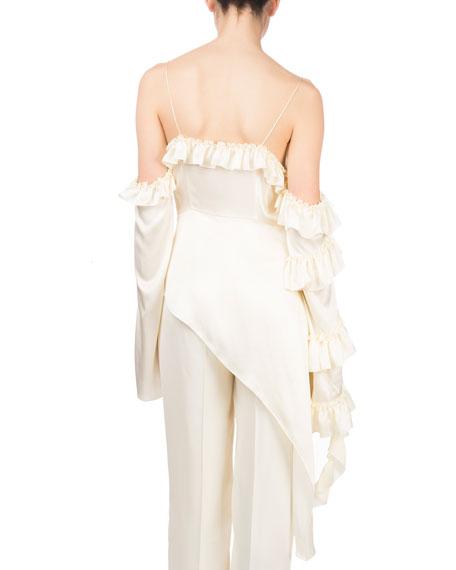 Pireus V-Neck Cold-Shoulder Side Ruffle Silk Blouse