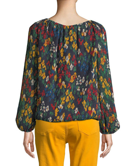 Josephine Drawstring-Neck Floral-Print Top