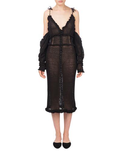 Castro V-Neck Cold-Shoulder Midi Crochet Dress