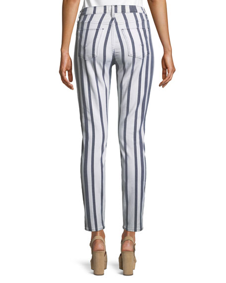Barbara High-Waist Super Skinny Ankle Striped Jeans