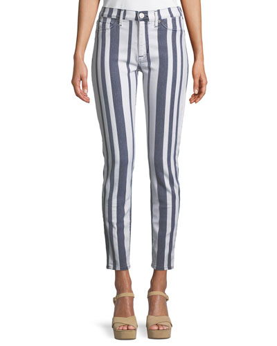 Barbara High-Waist Super Skinny-Leg Ankle Striped Jeans