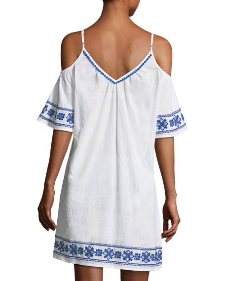 Cold-Shoulder Cotton Dress with Embroidery
