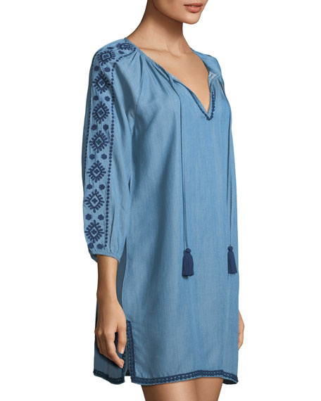 Embroidered Split-Neck Chambray Tunic