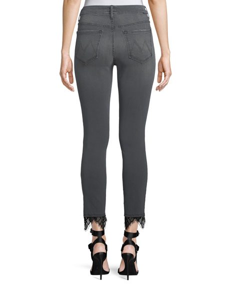 Looker High-Rise Skinny Ankle Jeans with Lace Hem
