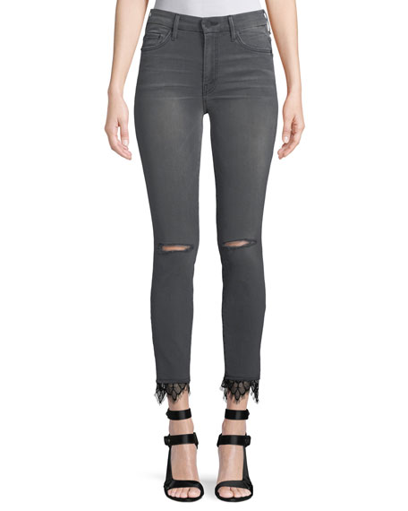 MOTHER Looker High-Rise Skinny-Leg Ankle Jeans with Lace
