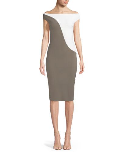 Shaili Two-Tone Off-the-Shoulder Cocktail Dress