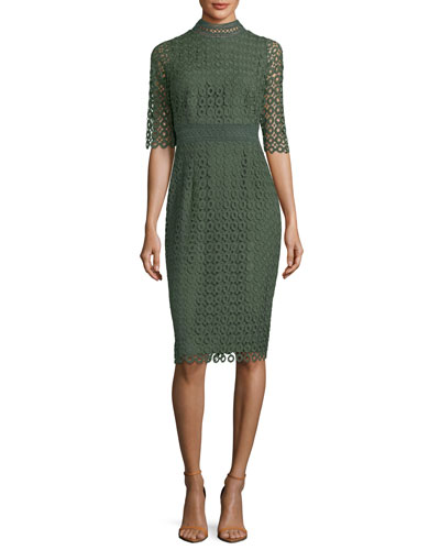 Olivie Lace-Circle Sheath Dress