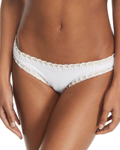 Crochet-Trim Scoop Swim Bikini Bottom, White/Gold