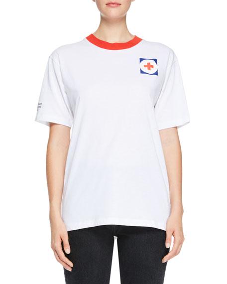 Off-White Crewneck Short-Sleeve Oversized Cotton T-Shirt