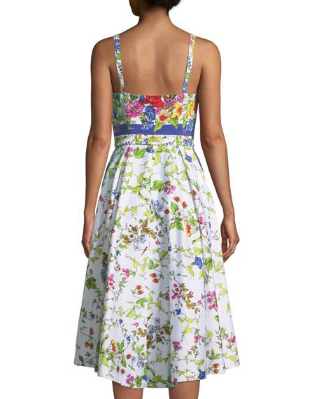 Floral Sleeveless Bustier Midi Dress