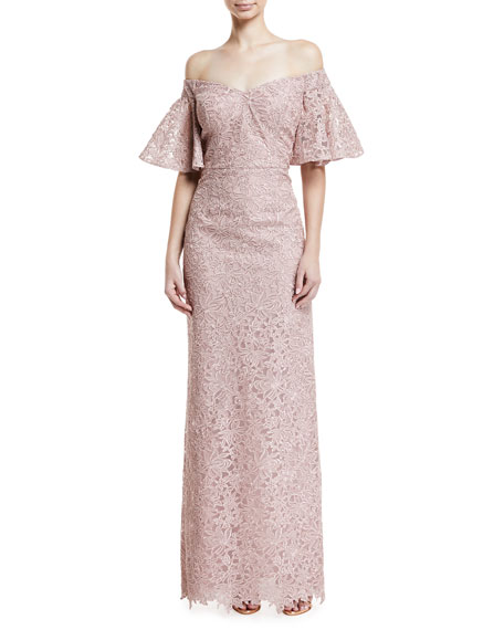 Lace Off-the-Shoulder Flutter-Sleeve Gown