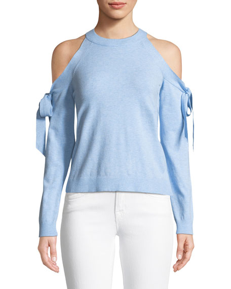 Milly Long-Sleeve Cold-Shoulder Tie Top