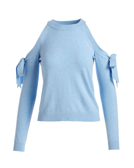Long-Sleeve Cold-Shoulder Tie Top