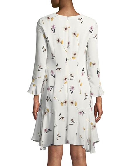 Michie Floral Crepe A-Line Dress