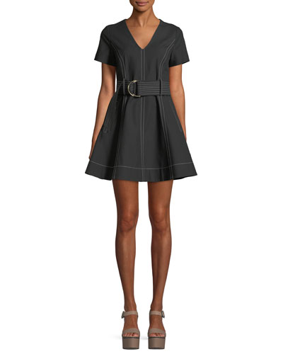 Short-Sleeve D-Ring Belt Fit-and-Flare Dress