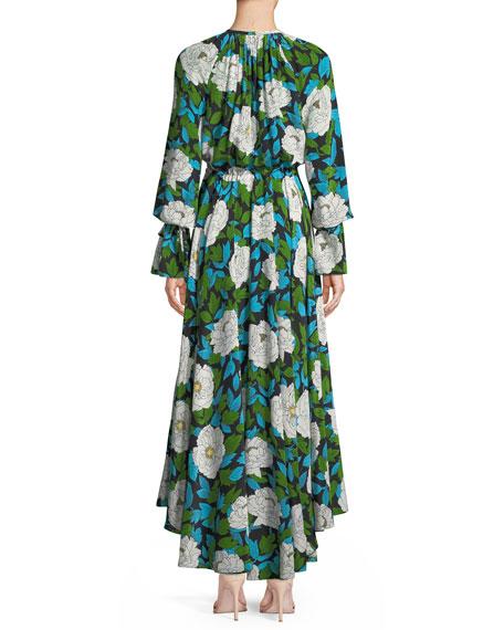 Long-Sleeve Floral Cinch Maxi Dress