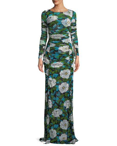 Diane von Furstenberg Floral Maxi Floor-Length Fitted Dress
