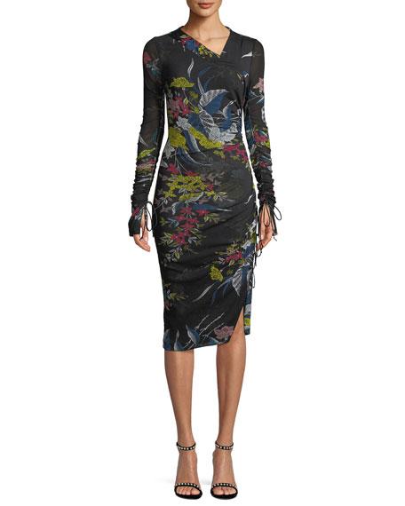 Diane von Furstenberg Long-Sleeve Ruched Floral-Print Body-Con