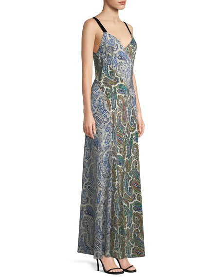 Sleeveless Paneled Lily-Print Silk Maxi Dress