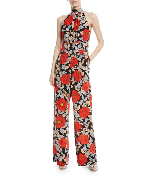Diane von Furstenberg High-Neck Sleeveless Wide-Leg Floral-Print
