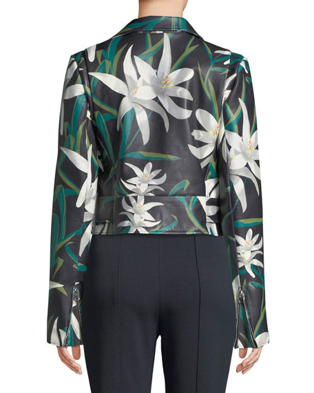 Lily Print Zip-Front Cropped Leather Moto Jacket