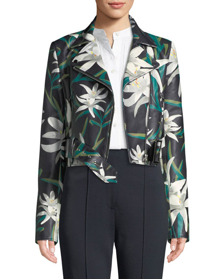 Diane von Furstenberg Lily Print Zip-Front Cropped Leather