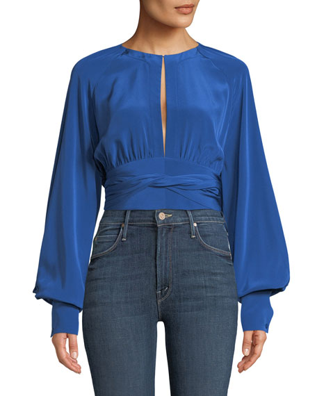 Blouson-Sleeve Silk Keyhole Blouse
