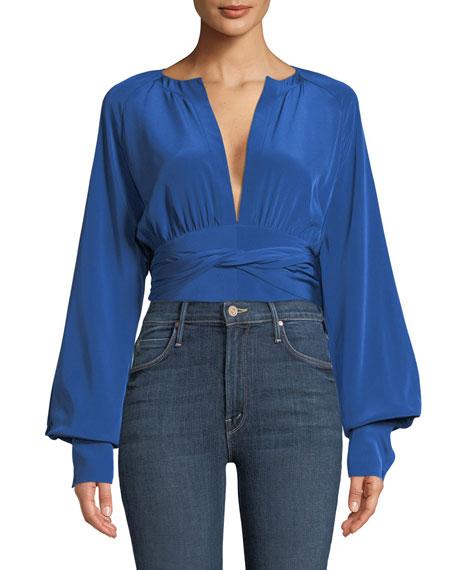 Diane von Furstenberg Blouson-Sleeve Silk Keyhole Blouse