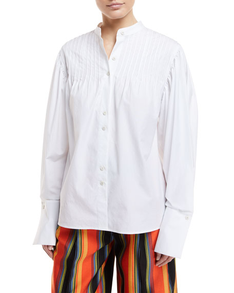 Diane von Furstenberg Long-Sleeve Button-Front Pintuck Cotton