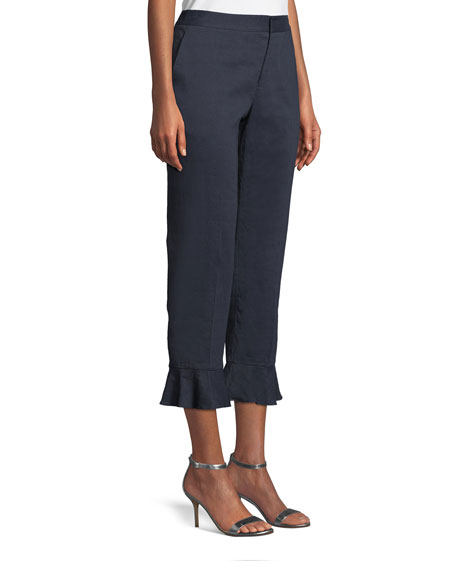Carenza Flare-Cuff Cropped Pants