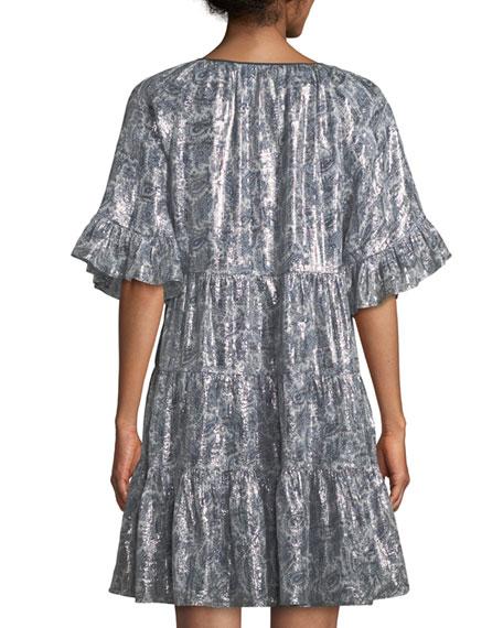 Adonia Metallic-Print Silk-Blend Dress
