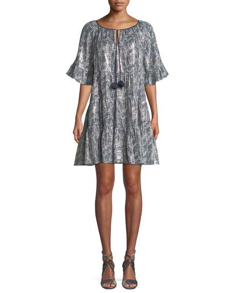 Kobi Halperin Adonia Metallic-Print Silk-Blend Dress