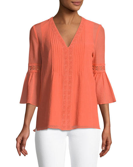 Kenna 3/4-Sleeve Lace-Trim Blouse