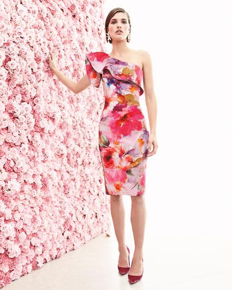 Elisse Asymmetric Ruffle Sheath Cocktail Dress