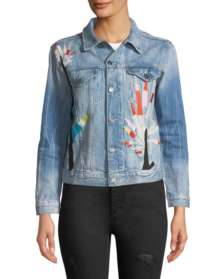 Etienne Marcel Embroidered Denim Jacket