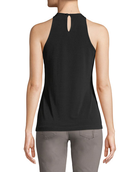Image 2 of 2: Halter-Neck Cut-In Camisole Tank