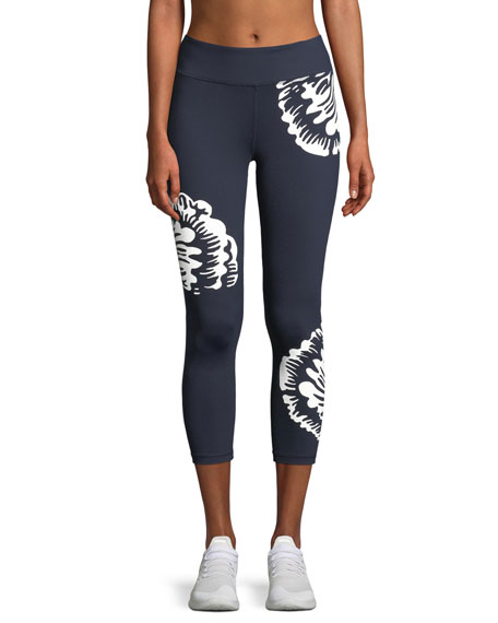 Tory Sport Soho Reflective Floral-Print Cropped Leggings